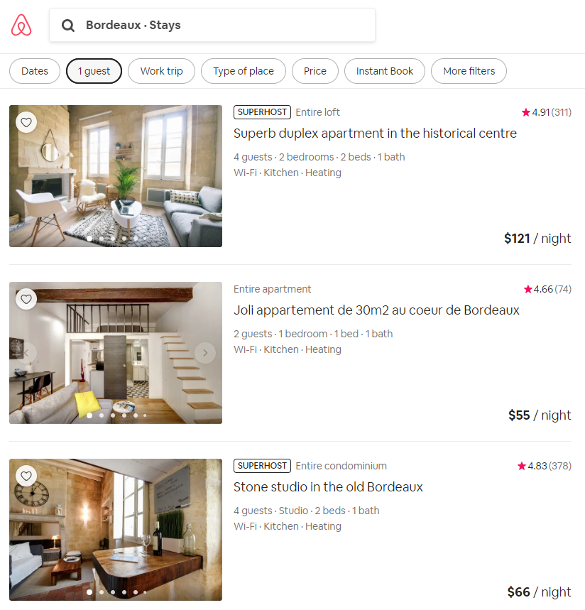 Bordeaux has hundreds of Airbnb options in great locations!